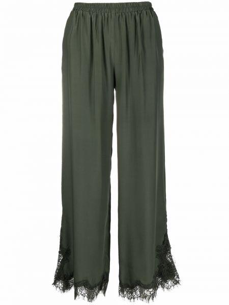 Шелковые зеленые широкие брюки Gold Hawk