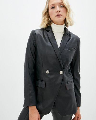 Черная демисезонная кожаная куртка Silvian Heach