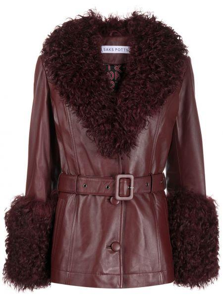 Красная кожаная куртка с мехом Saks Potts