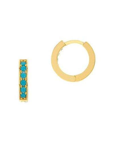 Złote kolczyki sztyfty turkusowe eleganckie Saks Fifth Avenue