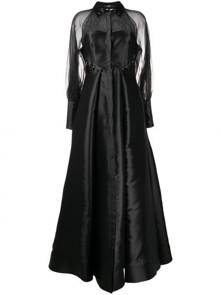 Расклешенное платье прозрачное с длинными рукавами с вырезом Avaro Figlio