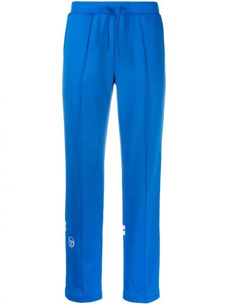 Niebieskie spodnie bawełniane z haftem Sergio Tacchini