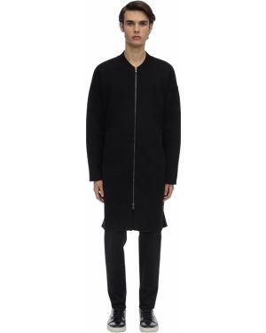Prążkowany czarny płaszcz wełniany Falke