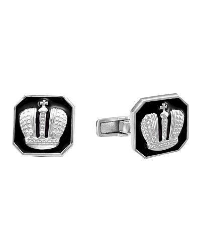 Запонки - черные серебро россии