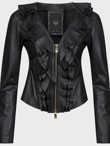 Черная кожаная куртка с подкладкой Frankie Morello