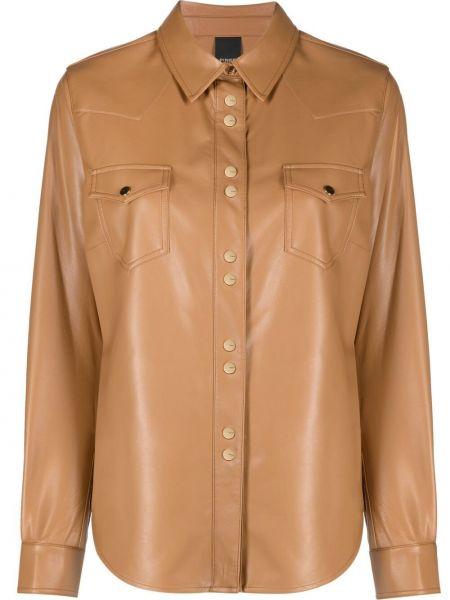 Brązowa koszula z długimi rękawami skórzana Pinko