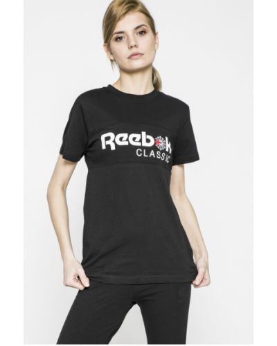 Черная футболка прямая Reebok