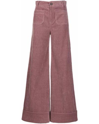 Брюки с завышенной талией розовый с накладными карманами Roberto Collina