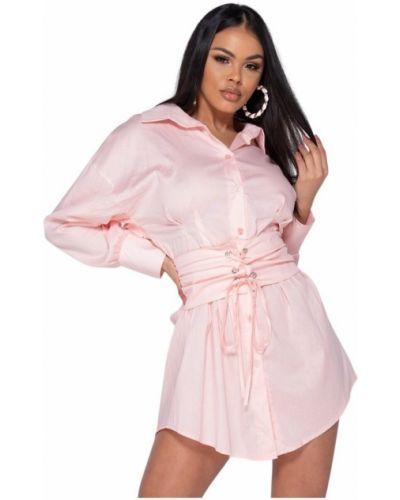Różowa sukienka z długimi rękawami Parisian