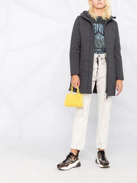 Нейлоновое серое пальто классическое с капюшоном Save The Duck