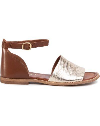 Босоножки на каблуке - золотые Nessi
