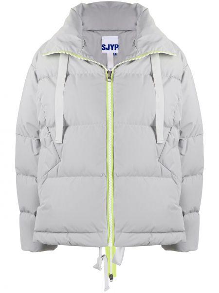 Серая куртка на молнии с воротником Sjyp