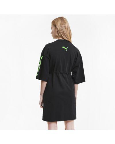 Брендовое черное платье с поясом Puma