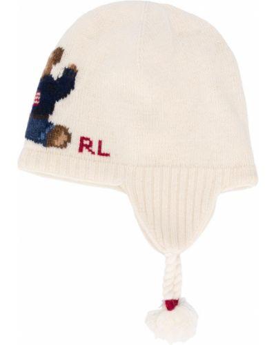 Prążkowana biała czapka wełniana Ralph Lauren Kids