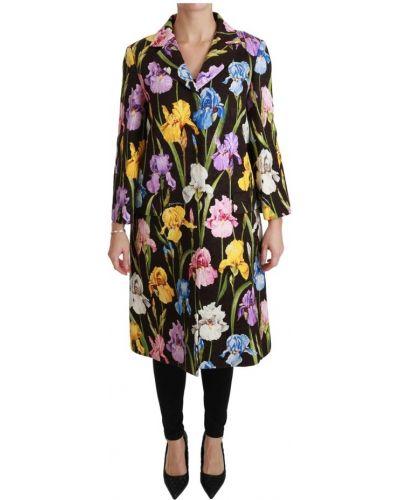 Czarna narzutka zapinane na guziki w kwiaty Dolce And Gabbana