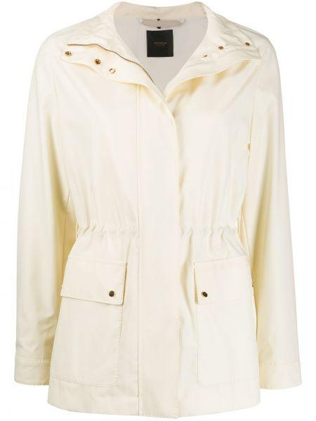 Кожаное длинное пальто с воротником с карманами Agnona