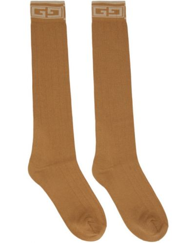 Bawełna brązowy bawełna wysoki skarpety z mankietami Gucci