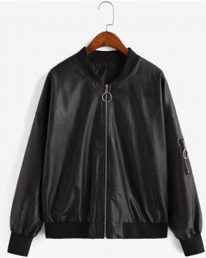 Кожаная куртка куртка-пилот с карманами Zaful