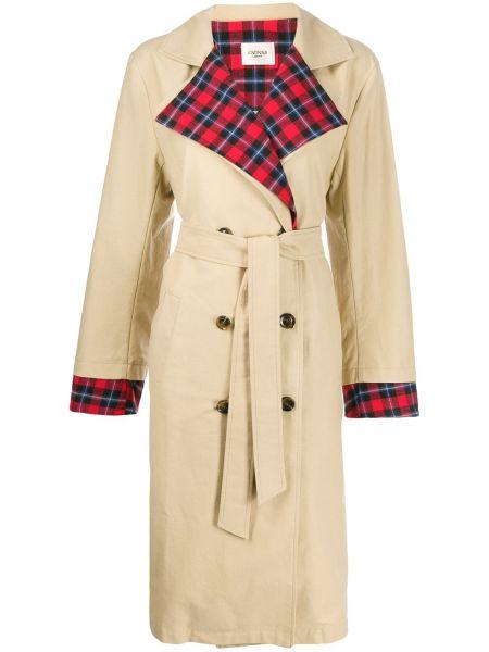 С рукавами пальто с воротником с поясом двубортное Jovonna