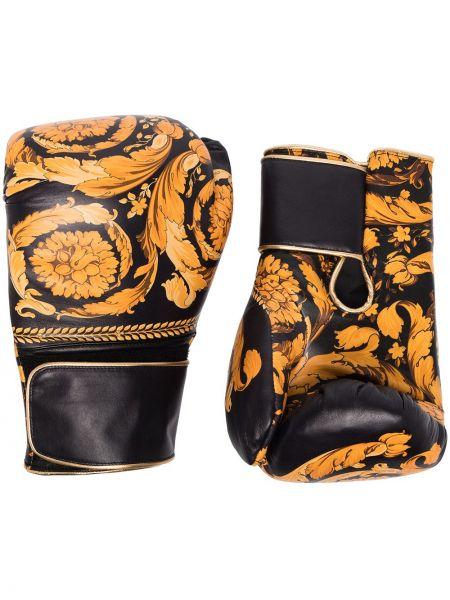 Кожаные черные перчатки Versace