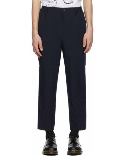 Czarne spodnie z paskiem srebrne Comme Des Garcons Homme Deux