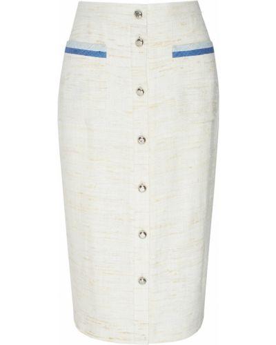 Белая базовая юбка миди на пуговицах с карманами Laroom