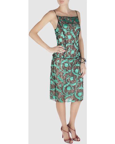 Зеленое платье прозрачное на молнии Jonathan Saunders