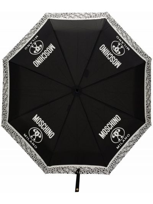 Czarny parasol z printem Moschino