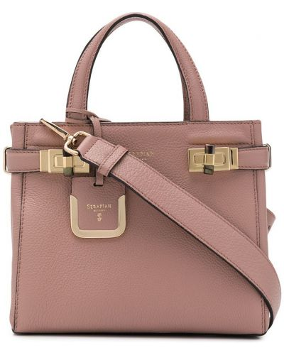 Кожаная сумка - розовая Serapian