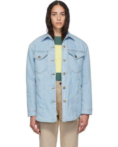 Z rękawami koszula jeansowa z kołnierzem z mankietami z kieszeniami Nanushka