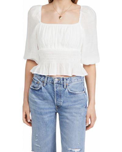 Белая блузка с декольте на резинке Minkpink