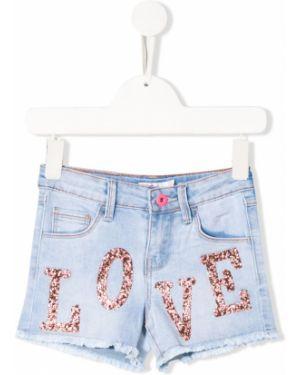 Ватные хлопковые синие джинсовые шорты Billieblush