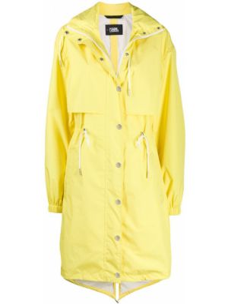 Пальто с капюшоном на пуговицах желтое Karl Lagerfeld