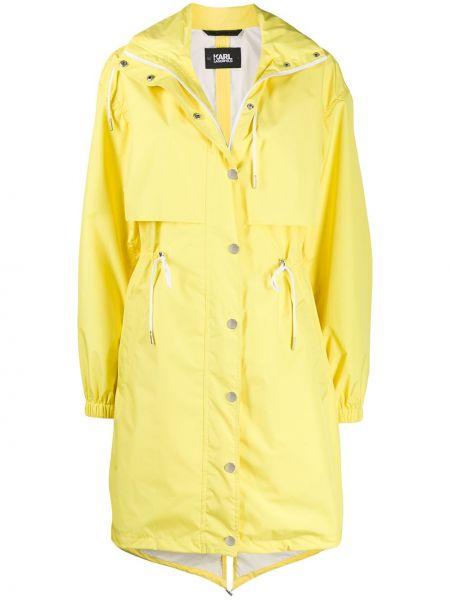 Пальто с капюшоном айвори на пуговицах Karl Lagerfeld