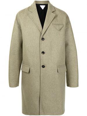 Beżowy długi płaszcz wełniany z długimi rękawami Bottega Veneta