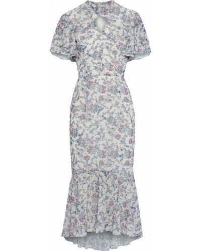 Белое платье миди с подкладкой с оборками Mikael Aghal