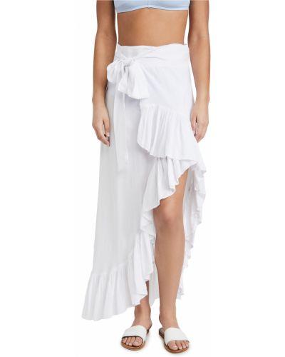 Мягкая текстильная белая юбка макси Tiare Hawaii