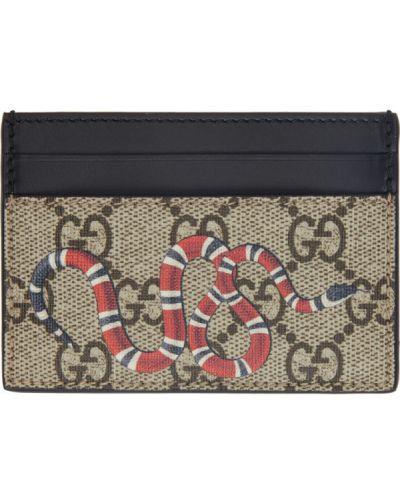 Brązowy skórzany etui na klucze prążkowany Gucci