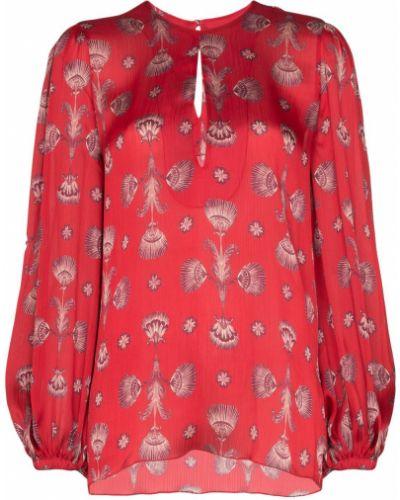 Блузка с длинным рукавом в полоску коралловый Johanna Ortiz