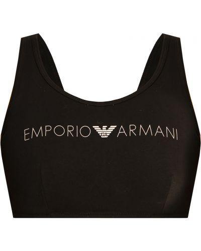 Czarny biustonosz sportowy z printem Emporio Armani