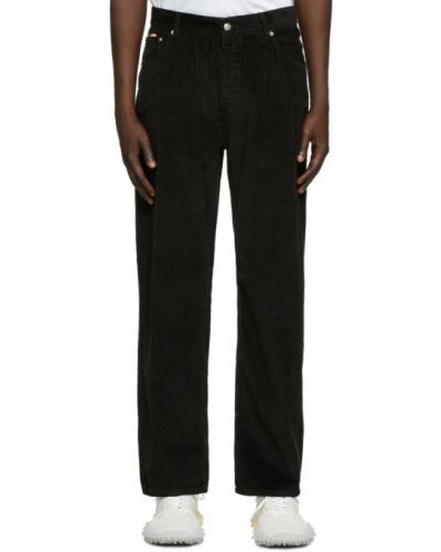 Czarne spodnie sztruksowe z paskiem Eytys
