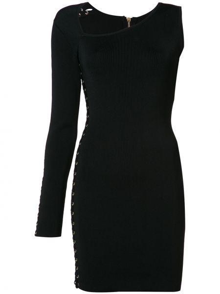 Платье на одно плечо - черное Balmain