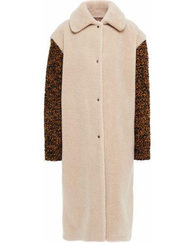Шерстяное бежевое пальто с карманами M Missoni