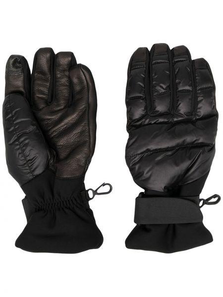 Czarne rękawiczki skorzane z haftem Moncler Grenoble