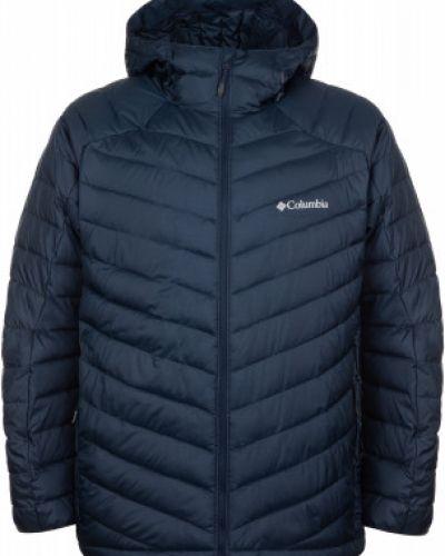 Прямая синяя утепленная куртка на молнии с карманами Columbia