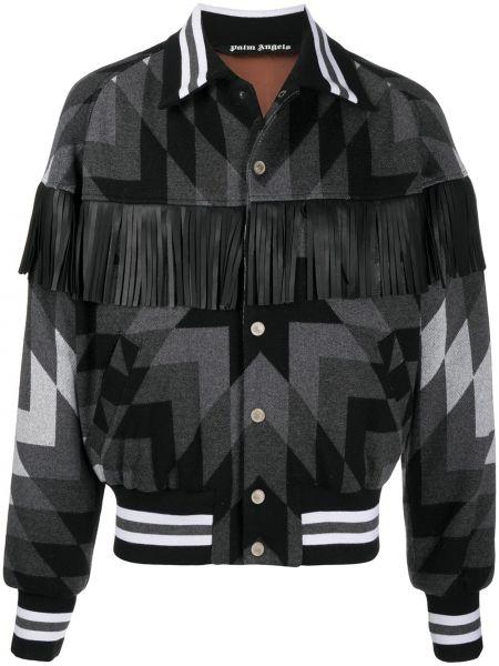 Czarna długa kurtka skórzana z frędzlami Palm Angels