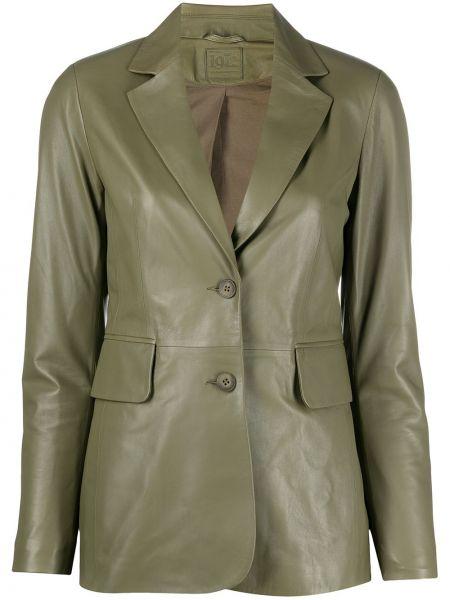 Кожаный удлиненный пиджак для полных с карманами Desa 1972