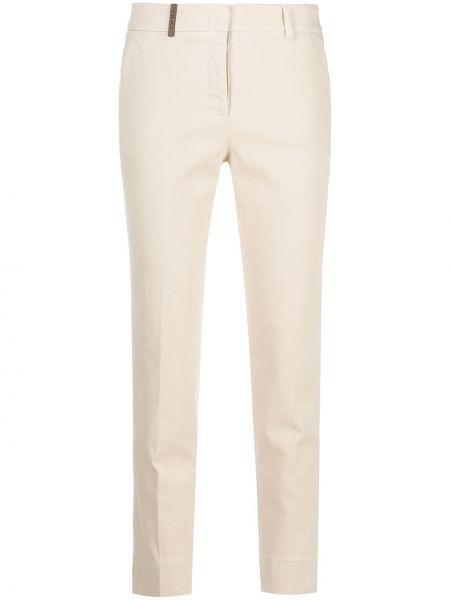 Хлопковые укороченные брюки узкого кроя с потайной застежкой Peserico