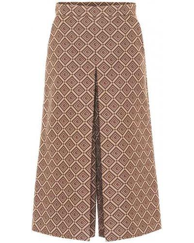 Bezpłatne cięcie beżowy bawełna szerokie spodnie bezpłatne cięcie Gucci