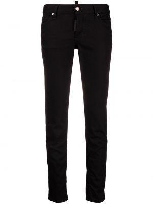 Кожаные черные джинсы-скинни с низкой посадкой Dsquared2